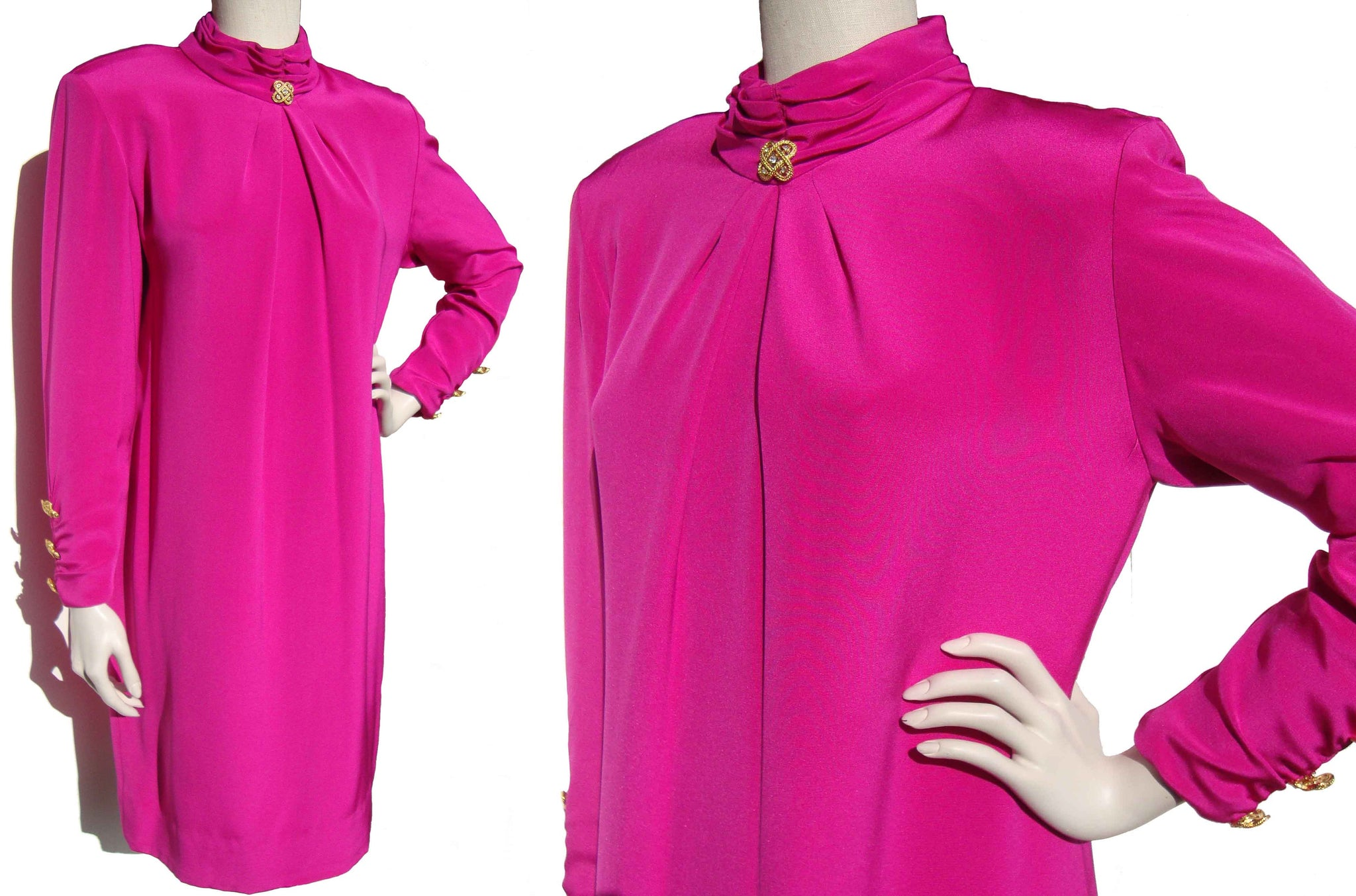 Vintage 80s Pierre Balmain Dress Pink Silk Shift w/ Novelty Buttons M