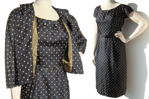 Vintage 50s Silk Dress & Bolero Jacket Set Polka Dot LBD