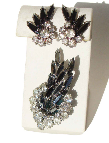 Vintage Juliana Demi Parure DeLizza & Elster Hematite Rhinestone Cocktail Set