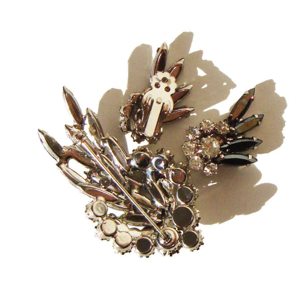D&E Demi Parure Brooch Earrings