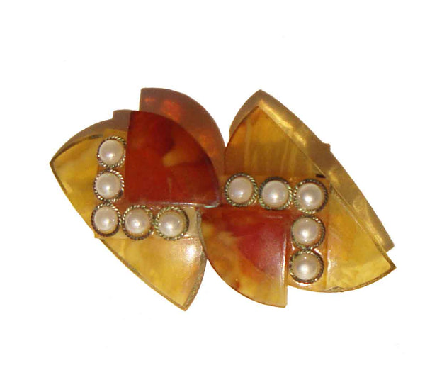 Vintage 30s Celluloid Brooch Art Deco Pearl Pin