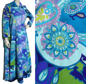 Vintage 70s Lounge Dress Pucci Style Psychedelic Paisley Mod Hostess Gown L