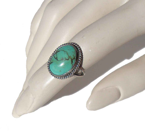 Vintage Turquoise Sterling Ring Southwestern Indian Sz 5.5