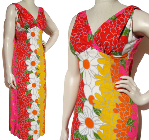 Vintage 60s Hawaiian Watteau Maxi Dress Tropical Floral Barkcloth