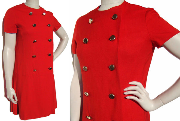 Vintage 60s Red Dress Mod Mini Skimmer M