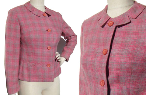 Vintage 60s Pink Jacket Ladies Mod Wool Plaid