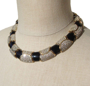 Vintage Ciner Collar Swarovski Crystal & Enamel Necklace
