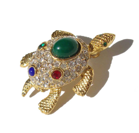Vintage Jeweled Turtle Brooch Sphinx of London KJL Pin