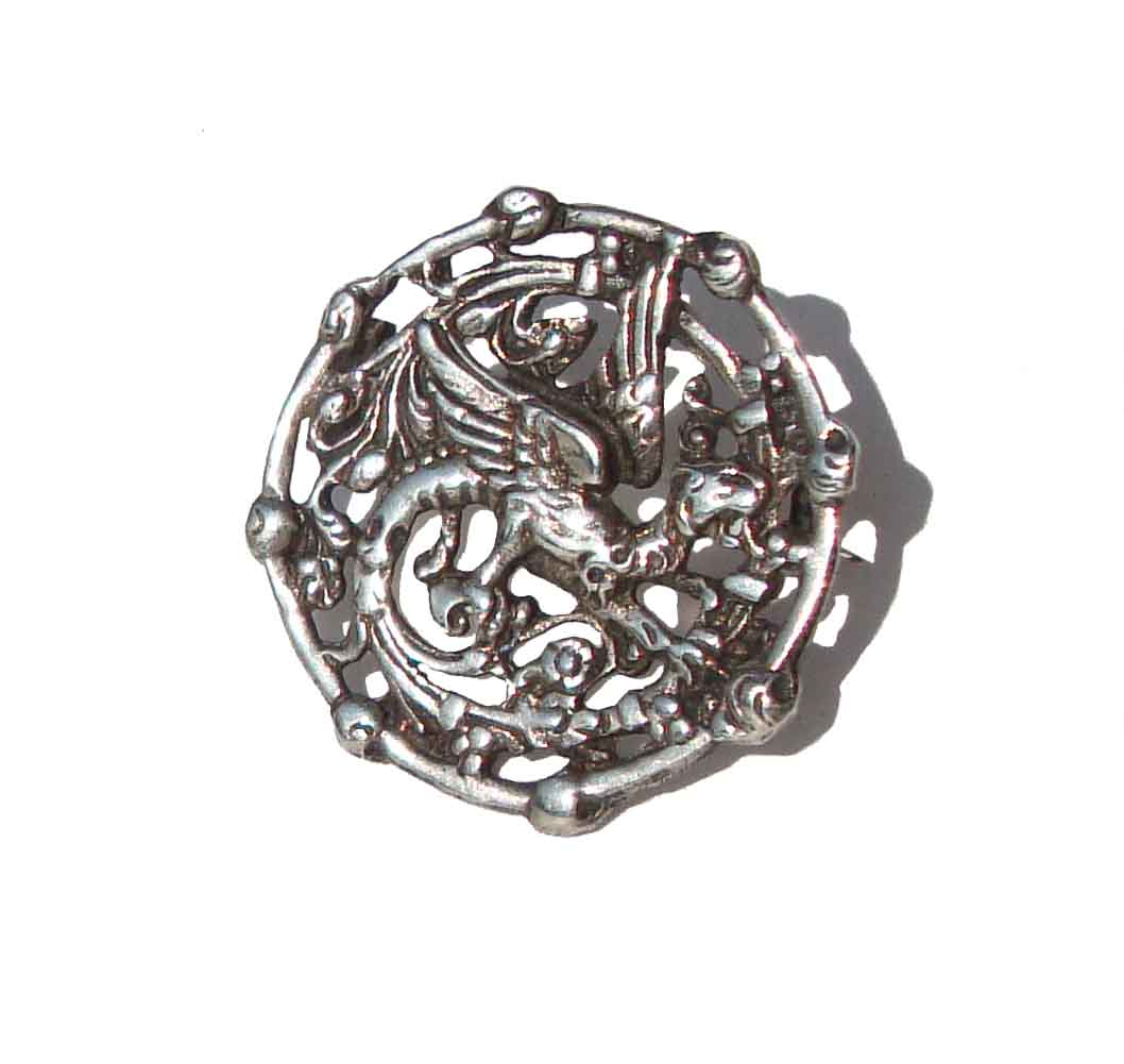Antique Victorian Griffin Pin Sterling Silver Gryphon Brooch