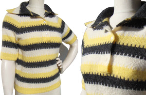 Vintage 60s Mohair Sweater Striped Pullover Yellow & Black M