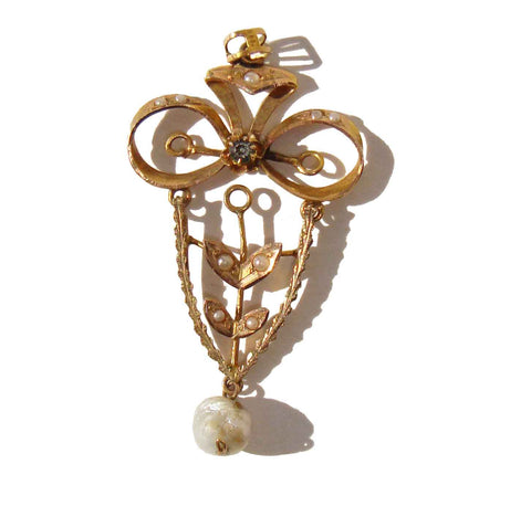 Edwardian 14K Gold & Pearl Lavaliere Antique Pendant