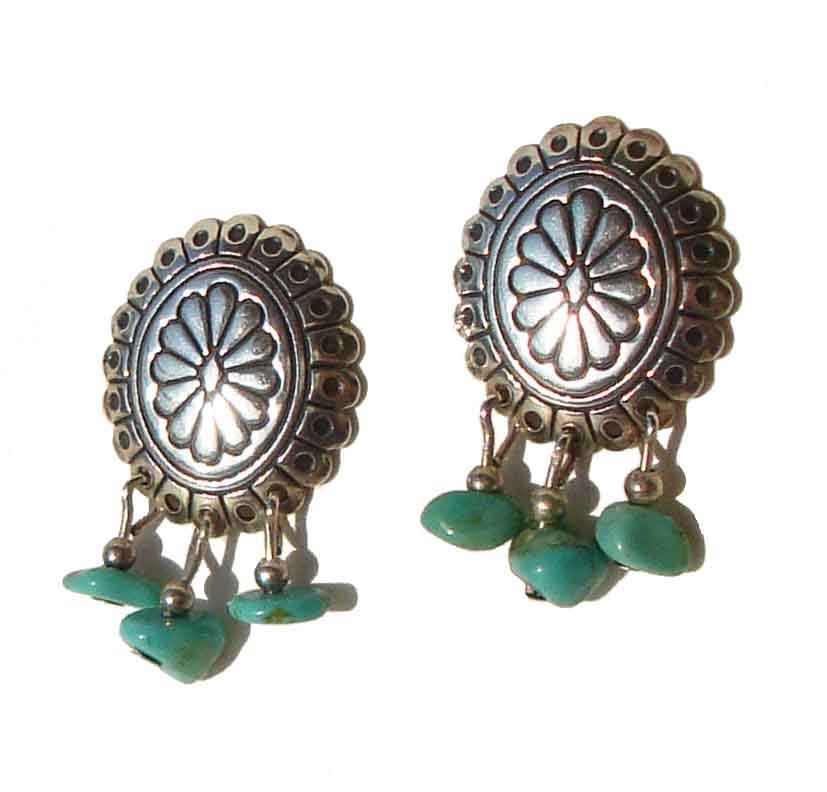Vintage Sterling Concha & Turquoise Earrings