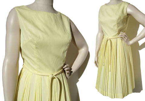 60s Sleeveless Yellow Dress Vintage Summer Pleated Cotton M