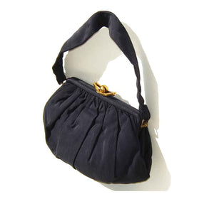1930s Navy Blue Faille Handbag