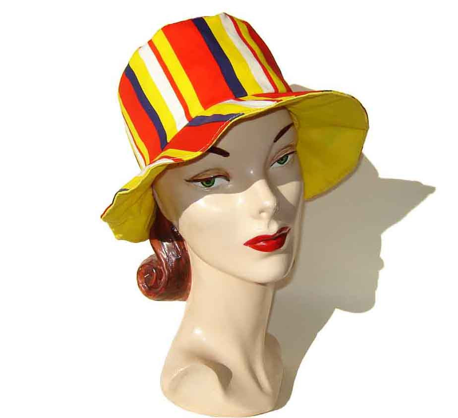 60s Mod Beach Hat Floppy Red Blue & Yellow Stripes