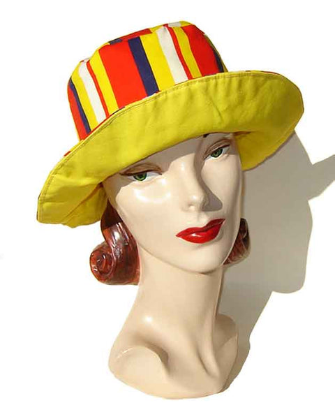 Vintage Mod Striped Beach Hat