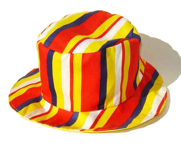 Vintage 60s Mod Beach Striped Hat