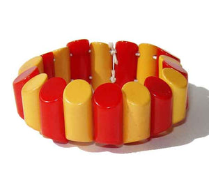 40s Bakelite Stretch Bracelet Red & Yellow Art Deco Two Toned Expandable