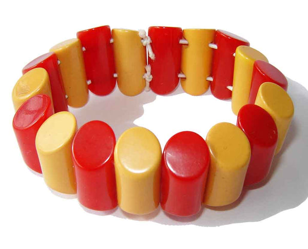 Vintage Red & Yellow Bakelite Bracelet