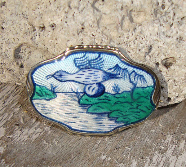 Vintage Norwegian Guilloche Enamel Bird Jacob Tostrup