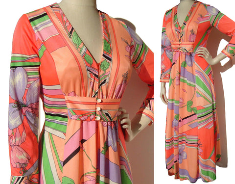 70s Ladies Lounger Mod Robe Multicolored Floral Nightgown Lingerie Butterfield 8 Duster M