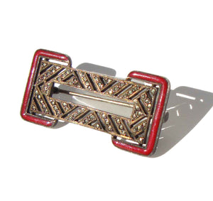 Art Deco Brooch French Silver Marcasites & Red Enamel Pin
