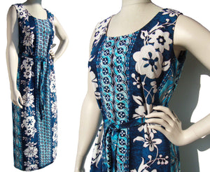 Vintage 70s Hawaiian Dress Tiki Barkcloth Maxi Gown by Lauhala - M