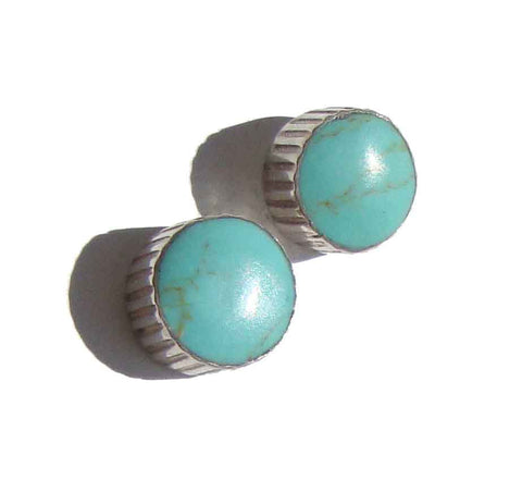 Vintage Turquoise & Sterling Button Earrings