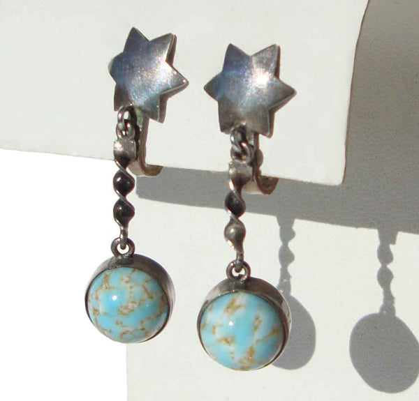 Art Deco Flapper Earrings Silver and Turquoise Art Glass