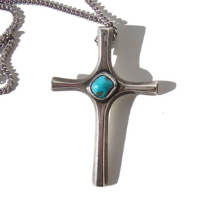 Vintage Southwestern Cross Sterling & Turquoise Indian Pendant