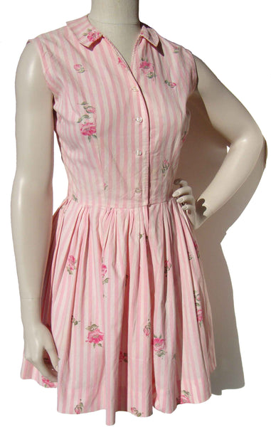 1950s Playsuit Pink Rose Print