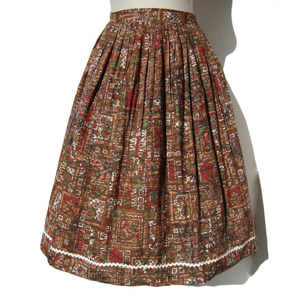 1960s Cotton Skirt Atomic Print