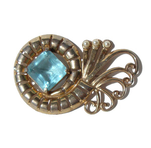 Vintage 50s Brooch Aquamarine Regency Cocktail Pin