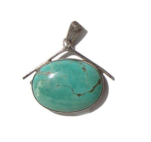 Vintage Navajo Sterling Turquoise Pendant - Renell Perry