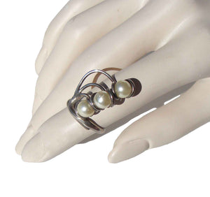 Vintage Modernist Ring Sterling & Pearls Adjustable Sz 5