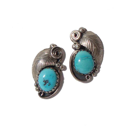 Vintage Navajo Earrings Joe Silver Sterling & Turquoise Studs