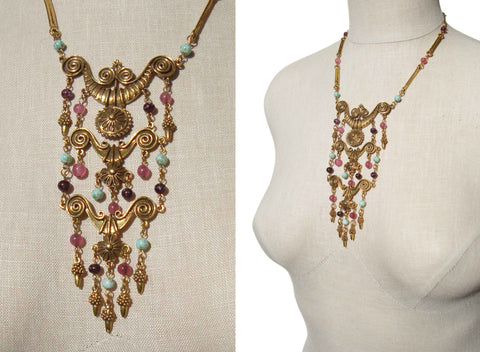 Vintage Goldette Bib Necklace Etruscan Revival Beaded Collar