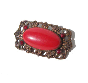 Vintage Neiger Brothers Brooch Red Art Deco Bohemian Czech Pin