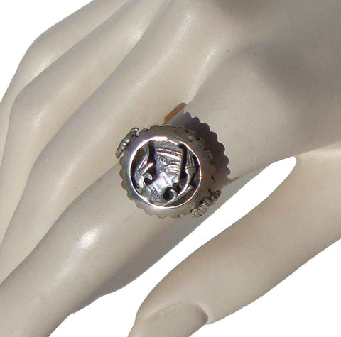 Vintage Cleopatra Ring Ancient Egyptian Silver Cameo Sz 9