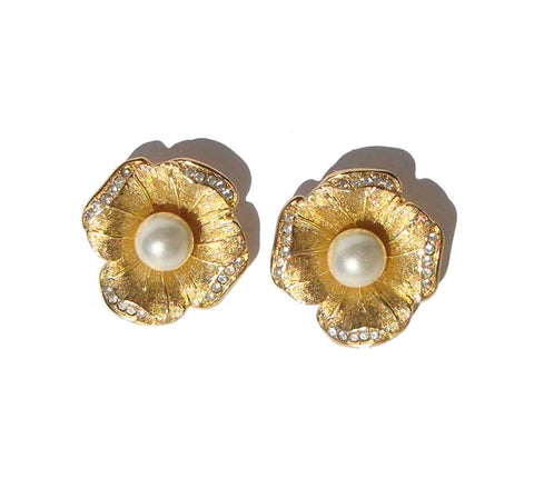Vintage Dior Earrings Floral Pearl Rhinestone Flowers
