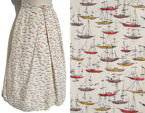 Vintage 60s Skirt Sailboat Novelty Print S / M – McMullen for De Pinna