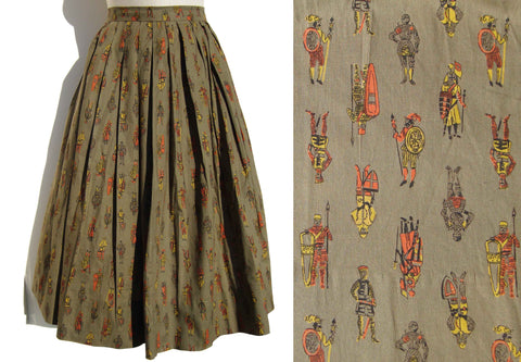 Vintage 60s Cotton Skirt Ancient Royal Warriors Novelty Print M