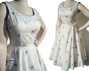 50s Rockabilly Dress Cotton Figural Novelty Print & Rhinestones Full Circle Skirt