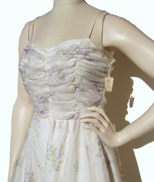 Vintage 70s Dress Floral Chiffon Gown