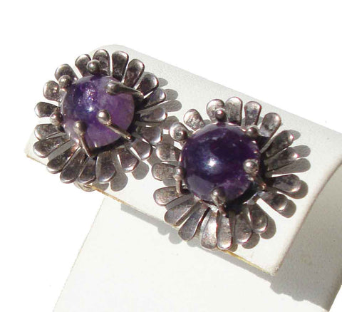 1940s Mexican Amethyst Silver Earrings