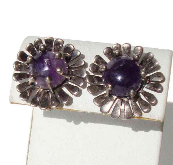 Vintage Mexican Earrings Sterling Amethyst