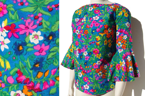 Vintage 50s Joy Stevens Blouse Floral Flutter Sleeves Top M