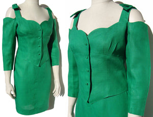 Vintage Lolita Lempicka Paris Green Top Skirt 2-Piece Set M