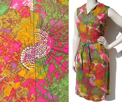 Vintage 70s Dress Psychedelic Modernist Print L