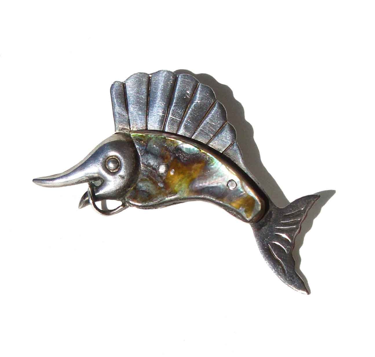 Vintage Ana Sosa Fish Brooch Sterling Silver Abalone Sailfish Marlin